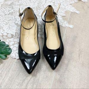 Ivanka Trump Leather Luana Ankle Strap Black Flats